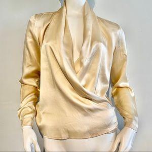 Vintage Drape Front Silk Blouse